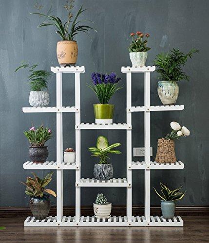 ZENGAI Support de fleur en bois massif Présentoir de pot de fleurs multicouche, 2 couleurs, 47,2 pouces de hauteur (Couleur : Blanc, taille : Without wheels)