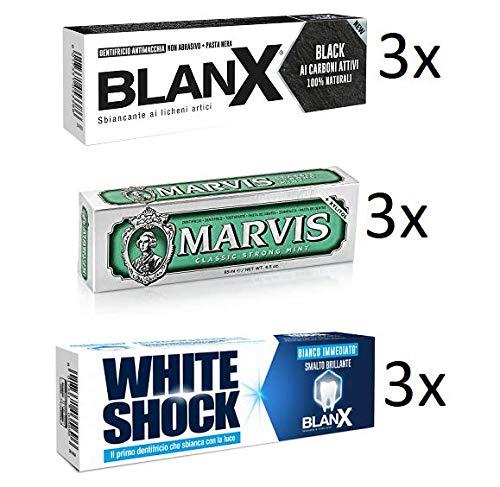 Preisvergleich Produktbild TESTPAKET Blanx Black White Marvis istant Zahnpasta Zahnschmelz Zahncreme (6 x 75ml) (3 x 85ml) 9 Stück