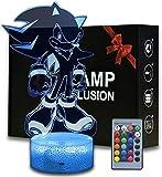 3D noche luz Sonic el erizo 3D ilusión lámpara 16 cambio de...
