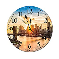 NYC Decor 3D Print Round Wall Clock,Cityscape of Brooklyn Bridge and Lower Manhattan Hudson River Center of Fashion Art and Culture 10 Inch Battery Operated Quartz Analog Quiet Desk Clock,Multi