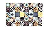 De'Carpet Alfombra Textil Suelo Baldosa Hidráulica Original Moderna Lavable Multicolor Collage (50x80cm)
