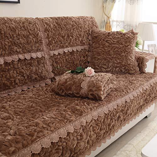 AIKES Antideslizante Fundas para Sofa,Salon Cubierta De Loveseat,Felpa Terciopelo La Funda para Sofa,Mascotas Protector De Muebles En Forma De L Funda Sofá-Marrón 90x70cm(35x28inch) 1pcs