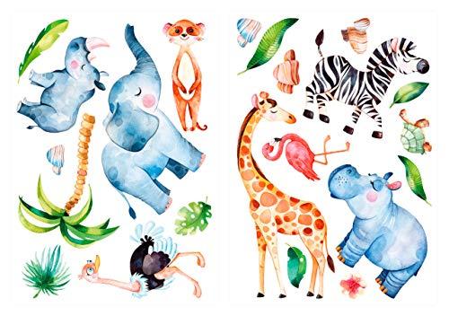 dekodino Adesivo murale acquerello acquerello animali della giunglai set deco
