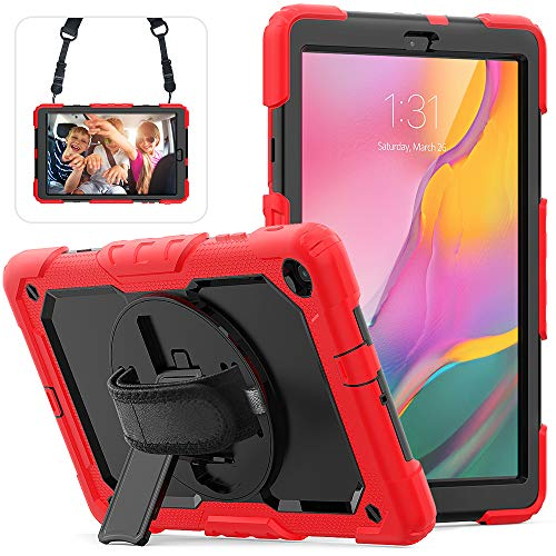 Samsung Galaxy Tab A 10.1 2019 Case with Screen Protector, Herize Full-Body Drop Proof & Shockproof Protective Case with Pencil Holder & Hand Strap for Galaxy Tab A 10.1 2019 SM-T510/SM-T515 Red
