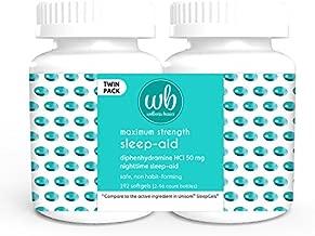 Wellness Basics Maximum Strength Sleep-Aid Diphenhydramine Softgel Twin Pack, 192 Count