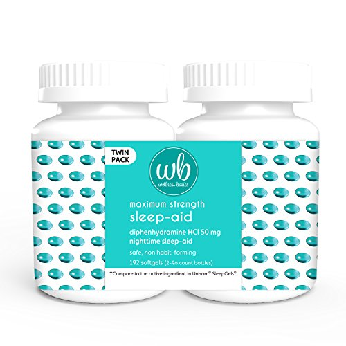 Wellness Basics Maximum Strength Sleep-Aid Diphenhydramine Softgel Twin Pack, 96 Count (Pack of 2)