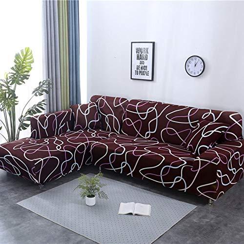 Juego de Fundas de sofá geométricas, Funda de sofá elástica para Sala de Estar, Apta para sofá Chaise Longue de Esquina A10, 1 Plaza
