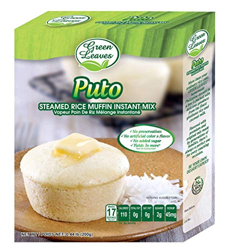 Green Leaves Instant Filipino Dessert PUTO (Filipino Rice Cake) READY MIX 7.05 oz - Authentic Filipino Flavors - Great for Parties, Easy To Make, can be cooked using microwave or stove-top