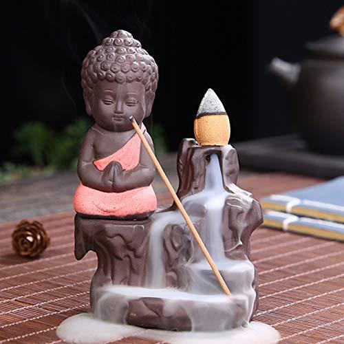 Quemador de incienso de reflujo – Pequeño monje Buda cascada de agua, soporte para quemador de incienso, cerámica, salón, decoración, yoga, regalo, (naranja)