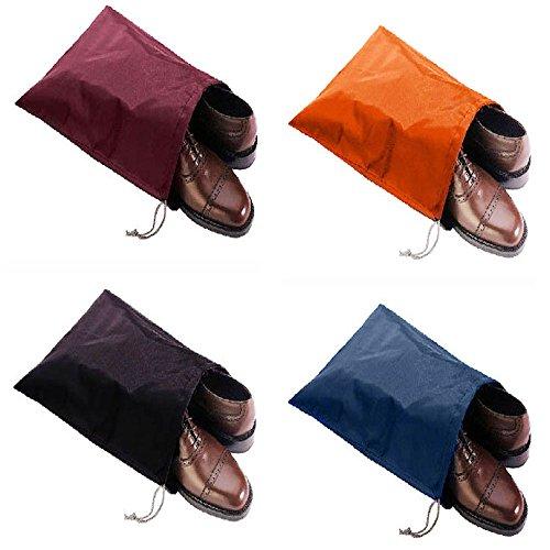 FashionBoutique Waterproof Nylon Shoe Bags- Set of 4 (Multicolor)