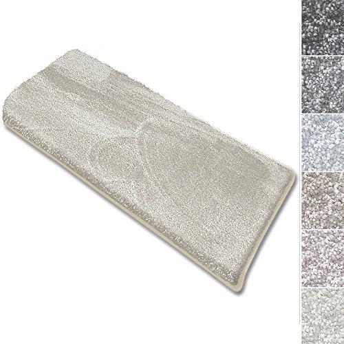 casa pura Coprigradini per Scale Interne - Tappeto Scale Antiscivolo, Effetto Velour (13.5mm) Ultra - Morbido in Numerosi Colori Pastello - Rettangolare - Set da 15-23.5x65 - Bianco Panna
