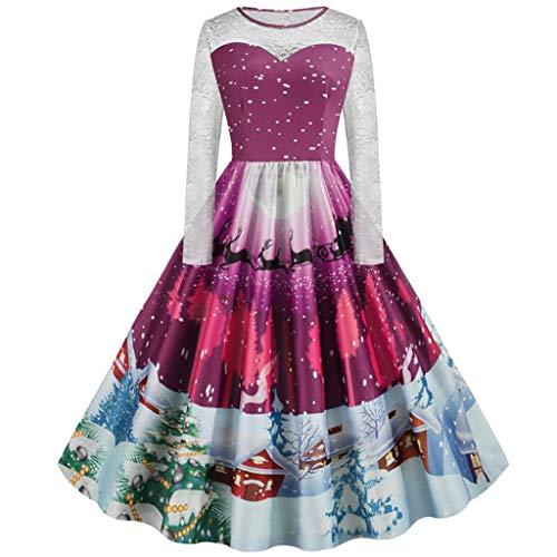 YBWZH Weihnachtskleider Damen Vintage 60er Abendkleider mit Weihnachtsmotiven Druck Volant Plissee Cocktailkleider Damen Rundhalsausschnitt Ausgestellte Partykleider für Weihnachten