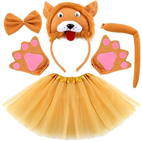 Vamei disfraz de niños animal Diadema de animal Bowtie Tail Guantes Tutu Set para niños Halloween Dress Up 5 piezas