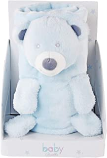 Baby Brielle 3-in-1 Blue Teddy Bear Stuffed Animal Blanket Plush Toy Fleece Set 35 x 30 inches