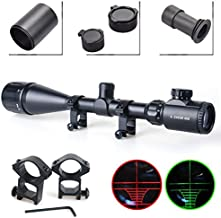 Twod Rifle Scope Tactical 6-24X50mm AOEG Optics Hunting Rifle Scope Red/Green Illuminated Crosshair Gun Scope + Scope Sunshade + Covers + Free Mounts