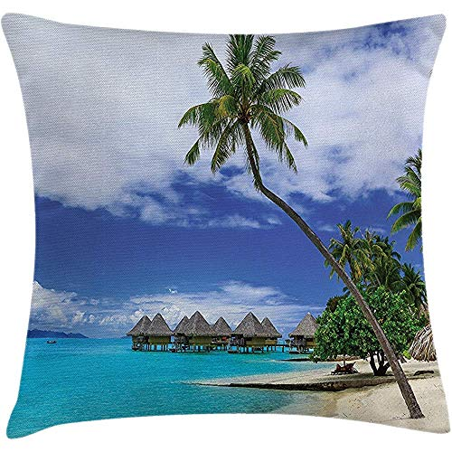 Throw Pillowcase Pillow Cover Tropical Decor Cushion, Over-Water Bungalows of Resort Bora Bora Island Pacific Ocean Panorama, Decorative Square Accent Case, 18 X 18 Inches, Green Blue White