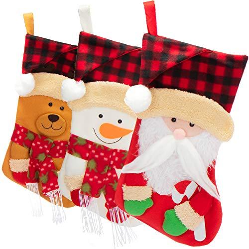 com-four® 3X Premium Weihnachtsstrumpf XL zum Befüllen - Nikolausstiefel zum Aufhängen - Weihnachtsdekoration in verschiedenen Design - Nikolausstrumpf 43 x 24 cm