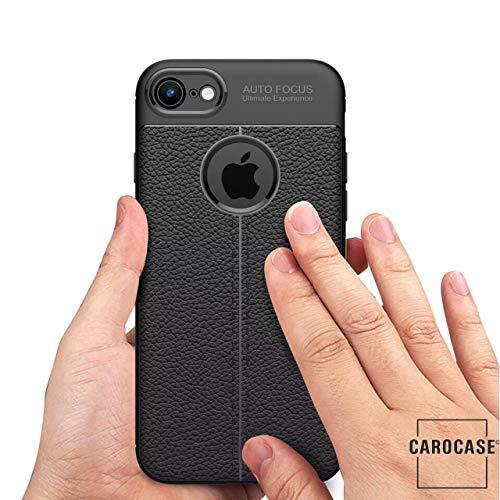 CAROCASE Premium Bumper für iPhone 7 Plus, iPhone 8 Plus, Hülle Cover Lederlook, Black, schwarz