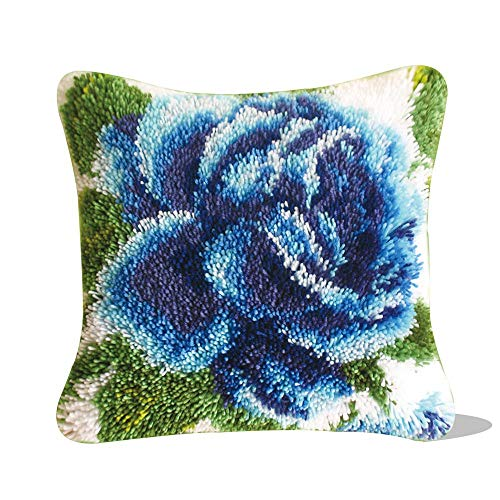 """Ylkgogo Latch Hook Kits for DIY Throw Pillow Case Rose Model Crochet Needlework Crafts for Kids and Adults 17"""" X 17"""" (Blue Rose)"""