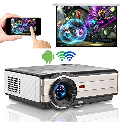 """EUG 4200 lumen HDMI Android WiFi LCD Projector WXGA LCD TFT Display Max 200"""" 16:9 Widescreen Smart Wireless TV Video Projectors for Gaming Smartphone Laptop DVD Playstation Xbox Wii"""