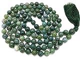 Gems Mart - Collana in agata di muschio naturale AAA 108 Mala con 108 perle di mala di agata muschio   108 perle di preghiera   bracciale mala annodato a mano   Japa Mala   perline rotonde da 8 mm