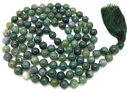Natural AAA ágata de Musgo 108 Collar de Mala   Ágata de Musgo Mala   108 Oración con Cuentas Collar de Mala   Anudadas a Mano Pulsera de Mala   Japa Mala   8mm Granos Redondos