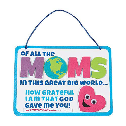 Fun Express Religious Mother's Day Sign Craft Kit - Makes 12 - DIY Craft Gifts for Kids