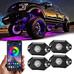 cheap Rgb Led Rock Light, 4 Pods, Underglow Colorful Neon Light Accessory with App Control Sync…