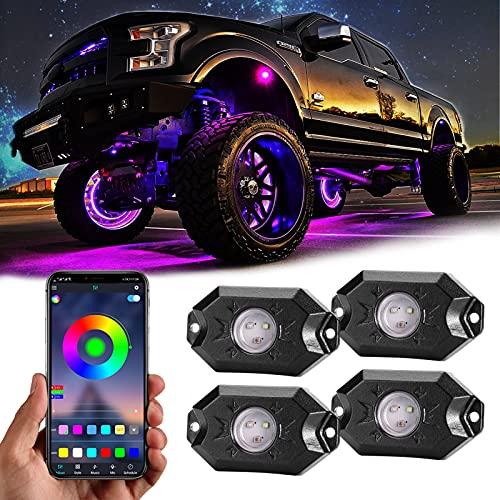 RGB LED Rock Lights, 4 Pods Underglow...