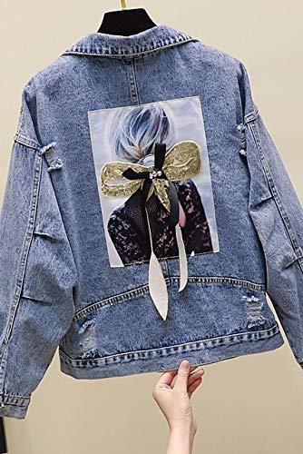 NCKLY Chaqueta Estampada Mujer Primavera Otoño Chaqueta Corta Mujer Jean Abrigo Agujero Manga Larga Espalda Suelta Dibujos Animados Impreso Azul Denim Prendas De Abrigo
