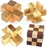 Gracelaza 4 Piezas Juguetes Rompecabezas de Madera Set - IQ Juguete Educativo - 3D Brain Teaser Puzzle de Madera - Juego Niños y Adolescentes