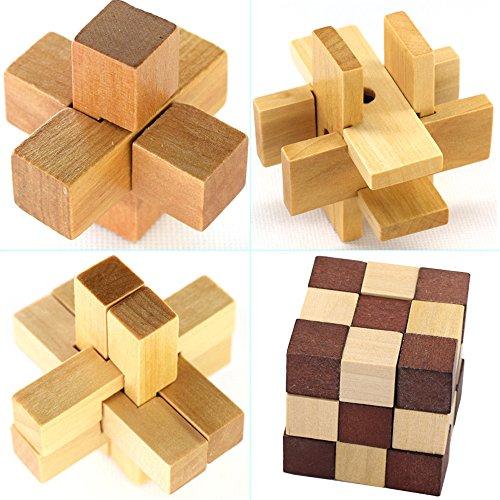 KBstore 4 Piezas Rompecabezas de Madera Juguetes Caja Set - Educa Brain Teaser Puzzle de Madera - Juegos de Logica para Adultos - Juego de Ingenio Ideales y Regalos para Niños y Infantiles