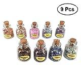 Healifty Kleine Glasfläschchen Mini Wunsch Flaschen mit Korken und Edelstein