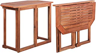 vidaXL Balcony Table Outdoor Dining Garden Patio Side End Desk Backyard Furniture Solid Acacia Wood Foldable Folding 90x50...