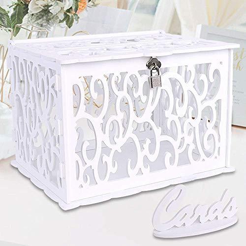 OurWarm DIY Hochzeitskartenbox Hochzeit Postbox mit Schloss PVC Geschenkkarten-Box für Empfang Jahrestag Abschlussfeier Geburtstag Party Babyparty Weiß