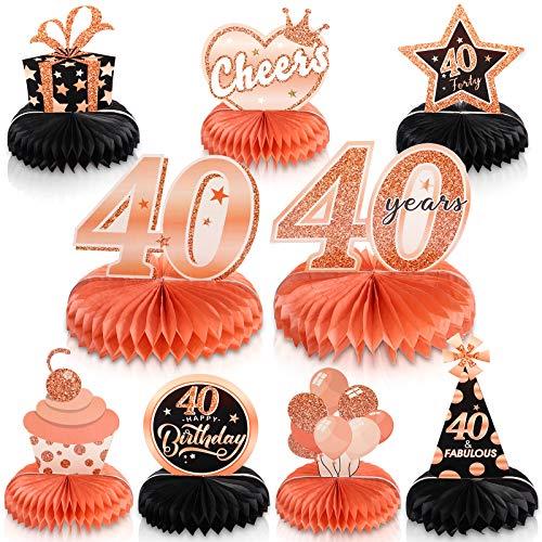 9 Piezas Adornos de Centros de Mesa de Panal de 40 Cumpleaños Decoraciones de Happy 40th Birthday Favores de Fiesta de Cumpleaños de 40 Años de Cheers to 40 Fabulous de Oro Rosa