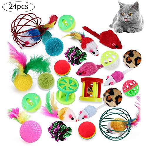ChaojunUK Direct 24 Stück Katzenspielzeug Set mit Bälle,Federspielzeug,Plüschspielzeug,Spielzeugmäuse,Jingle Bell Verschiedene Katzen Spielzeug für Katze Kitty