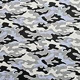 Tela de algodón 100 % para niños, diseño de camuflaje, por metros, artesanía, tela de costura (camuflaje, gris, negro, azul, 100 x 160 cm)