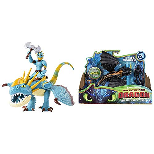 Dragons 6052269 - Movie Line Dragon & Vikings - Sturmpfeil und Astrid, Actionfiguren Drache & Wikinger, Drachenzähmen leicht gemacht 3 & 6052275 - Movie Line Dragon & Vikings, Ohnezahn und Hicks