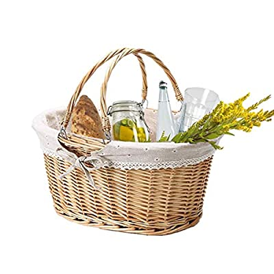 Picnic Basket for 2 Person ,Woven Basket for Storage ,Easter Basket with Handles