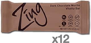 Zing Vital Energy Nutrition Bar, Dark Chocolate Mocha, (12 Count), High Protein, High Fiber, Low Sugar, Real Dark Chocolate, Natural Coffee Flavor, No Nuts