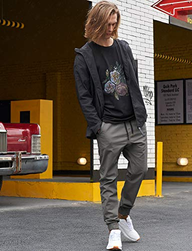 Italy Morn Men's Casual Harem Skinny Jogging Cargo Sport Chino Slim Fit Trousers, Dark Grey, L