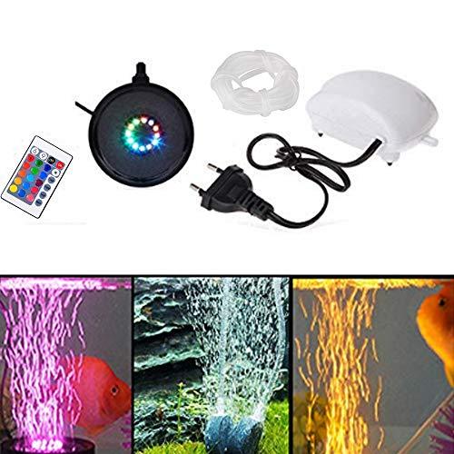 aquarium led beleuchtung,Luftpumpe,Sauerstoffstein Sprudler Air Stone,Unterwasserbeleuchtung mit 11 LED Licht Fernbedienung RGB Beleuchtung Dekoration IP68 für Fisch Tank Aquarien