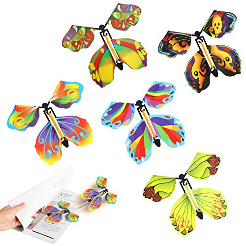 ORNOOU Magic Fairy Flying Butterfly, 10Pcs Fake Butterfly Card Rubber Band Wind Up Toys, Flying Fairy Surprise Box Birthday Party Gift Decoration (A#)
