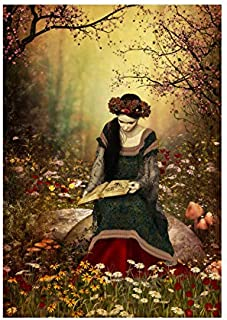 The Art Stop Painting Fantasy Woman Reading Forest Fairytale Print F12X8003