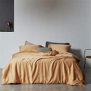 Dekbedovertrek Sets, Licht Luxe Modern Simple Dubbelzijdig Effen Kleur Tencel Vier-Delige Dekbedovertrek Bedding Naked Sle...