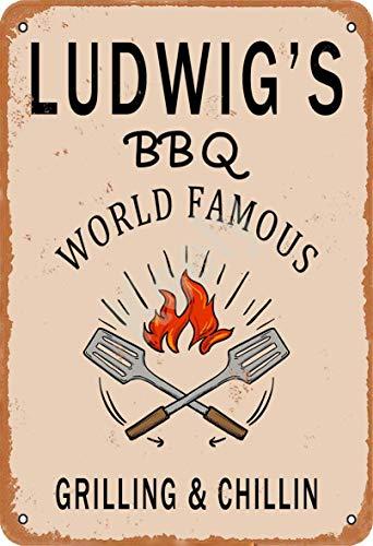 Keely Ludwig'S BBQ World Famous Grilling & Chillin Metal Vintage Cartel de...