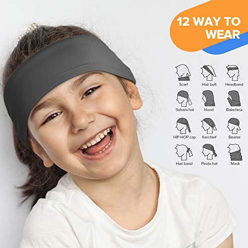 LUNGEAR Bandana for Kids Neck Gaiter Washable Multifunction Headwear Elastic Face Scarf Cooling Headband Snood with Dust Sun Protection for Outdoor Sports (space grey)