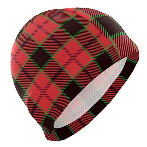 Tcerlcir Gorro Natación Navidad Rojo Negro Verde tartán Gorro de Piscina para Hombre y Mujer Hecho de Silicona Ideal para Pelo Largo y Corto