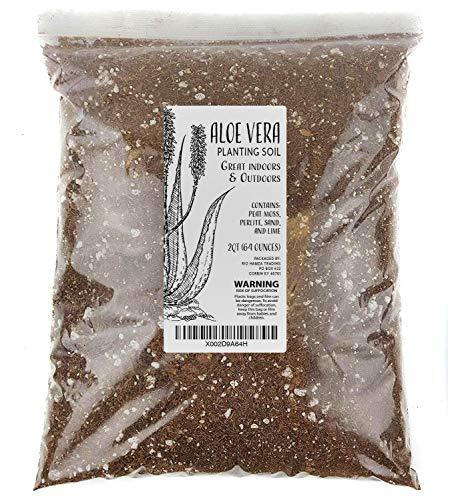 Aloe Vera Soil Blend, Hand Blended Aloe Vera and Succulent Soil Mix, Re-Pots 3-4 Small Plants or 1-2 Medium Plants, All Natural (2qts)